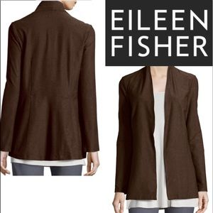 Eileen Fisher Brown Open Front Sweater Cardigan